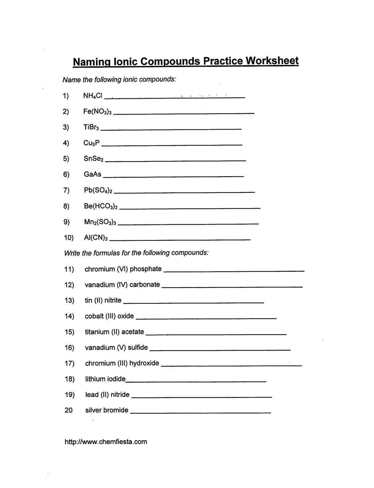 Chemistry Chemical Names And Formulas Worksheet - Worksheets